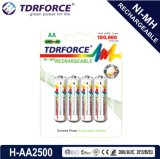 AA/Hr6 2200mAhの再充電可能なニッケルの金属の水素化合物のマイクロフォンのためのIos9001の長い耐用年数電池