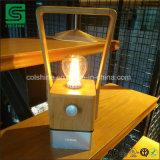 LED portátil rústica candeeiro de mesa regulável/ Bamboo Prático Camping Lâmpada com carregador USB