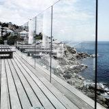 발코니 최고 거치된 알루미늄 U 채널 강화 유리 Frameless 방책