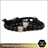 Jóia Mjb016 do bracelete do encanto do leopardo do grânulo de Gemstone dos homens