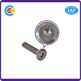 DIN/ANSI/BS/JIS Stainless-Steel Carbon-Steel/intérieure en acier galvanisé à tête plate à six pans/Meubles vis mécanique