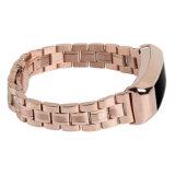 Cinturino alla moda dell'acciaio inossidabile di collegamenti dell'oro tre delle signore Rosa per Fitbit Alta ed Alta ora