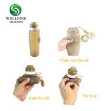 Bottiglia di acqua pieghevole pieghevole a perfetta tenuta portatile di corsa del silicone di marchio su ordinazione 500 ml - 600 ml