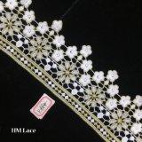 자수, 형식 디자인 결혼식 레이스가 9cm Organza 레이스 직물에 의하여, 원형 공급한다 Hme884를 꽃이 핀다