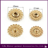 Venda por grosso de acessórios de vestuário Rodada Gold Botão de metal para vestuário de costura