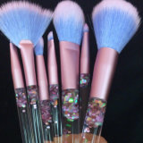Cepillo de encargo del maquillaje de la nueva maneta colorida del cristal líquido 7PCS
