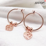 Strawberry Shape Ear During Pink Gold Plating Simple Elegant Design Gift Earring