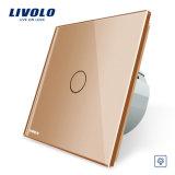 Interruptor estándar Vl-C701d-11/12/13/15 de la pared del amortiguador del panel del vidrio cristalino de la UE de Livolo