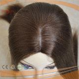 Peluca kosher judía superior de seda del pelo de la Virgen (PPG-l-01092)