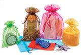 Sacos lisos completos de Organza, sacos cosméticos personalizados