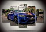 ホーム壁の芸術の装飾フレームは芸術HDのキャンバスの青いスポーツ・カーポスターで印刷される現代5つのパネルの景色BMWの絵画を描く