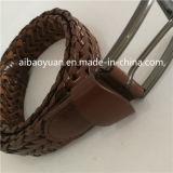 Courroie micro tressée de courroie d'élasticité tissée par cuir de Brown