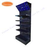Stand noir de machines-outils d'étalage de panneau de cheville d'exposition en métal d'outils de commerce de détail avec l'éclairage LED