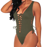 Женщины Sexy армии зеленый Lace Up Высокая посадка Bodysuit