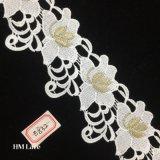 garniture de lacet de broderie de Venise de bande de garniture de lacet de broderie d'or de 7cm pour le vêtement Hme832