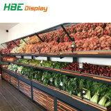 Supermercado de doble cara de madera resistente al agua con estante de la pantalla vegetal