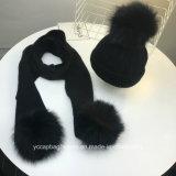 Warmer Winter gestrickte Poms Frauen Hut und Schal-Set