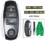 315/ 433/ 868MHz ID46/ 7953 Remplacement de 3 boutons de la puce Smart Card Key Fob à distance pour Volkswagen Touareg 2010-2014