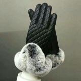 최고 호화스러운 형식 디자인 아름다운 Rex 토끼 모피 겨울 가죽 장갑