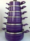 een zes-Stuk Pan van de Saus van het Aluminium niet van de Stok