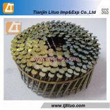 Soldados do fio amarelo de madeira revestida/bobina de coberturas de paletes galvanizado pregos