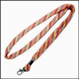 좁은 선물 광고를 위한 직물에 의하여 뜨개질을 하는 폴리에스테 주문 로고 방아끈