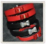 수정같은 모조 다이아몬드 활 개 목걸이, 다이아몬드 Bling 애완 동물 고리, 애완 동물 제품
