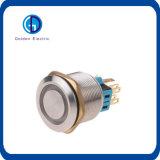 acier inoxydable rond plat 12V DEL rouge de 16mm enclenchant le commutateur du bouton poussoir DEL en métal 1no1nc