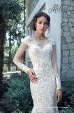 Vestidos de casamento longos W176286 das luvas da sereia dos vestidos nupciais do laço