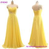 Les vêtements de mode vendent la robe formelle de robe de soirée de la robe une d'épaule de jaune romantique de robes
