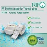 O Thermal resistente da água da prova do álcôol etiqueta o rolo enorme de papel sintético