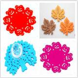 Fancy Cup Mats / Felt Easter Placemat / Crochet Cotton Coasters