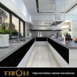 A cozinha personalizada simples moderna projeta gabinetes de cozinha de madeira da laca com console Tivo-0017V