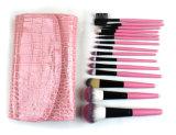 Conjunto de cepillo al por mayor portable del maquillaje de la maneta de madera sintetizada del pelo con color del bolso 6 de la PU