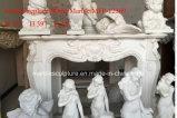 Cornija de lareira de mármore branca da chaminé no estoque (SY-MFP12309)