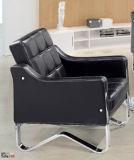 Sofá clássico popular do couro do escritório da cadeira do hotel com a base inoxidável do sofá do frame no estoque 1+1+3