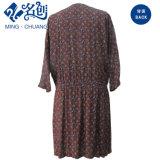 Rojo de manga larga con cuello en V de la moda vestidos damas de patrón de flores
