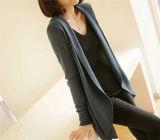 Caliente venta de moda de alta calidad de punto de las señoras de largo casual adelgazamiento de ajuste de la chaqueta de punto de las mujeres