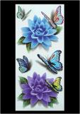 Etiqueta engomada temporal impermeable colorida del tatuaje de la flor de mariposa 3D
