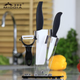Set des Messer-5PCS in den Peeler+Fruit+Santoku+Chef Messern mit Block