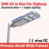 уличный фонарь 30W самый новый интегрированный солнечный СИД с регулируемым солнечным светом