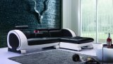 Sofá de sala de estar Sofá de couro genuíno para sala de estar com LED