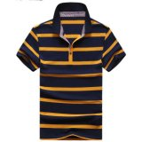 Вышитая OEM рубашка пола короткого Pique втулки Striped