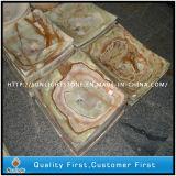 Dispersori Polished del granito del marmo di Onyx di colore giallo di figura del fiore per la stanza da bagno