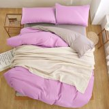 Solid Plain Color Polyester Fabric Bedroom Set Bedding
