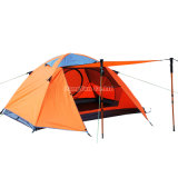 Tente de personne du Double couche 2, tente campante orange imperméable à l'eau en aluminium de Pôle