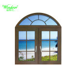 Spitzenbogen-Aluminiumumhüllung-festes Holz-Fenster