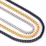 Цепь золота формы коробки нержавеющей стали цепи ожерелья ювелирных изделий