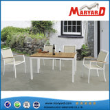 Nenhum Folded Outdoor Furniture Dining Table Set com Teak Table e Fabric Chair Set