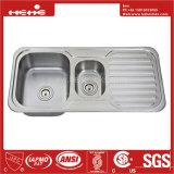 Bassin de cuisine de cuvette de double de support de dessus de l'acier inoxydable 43-1/4 x 18-7/8